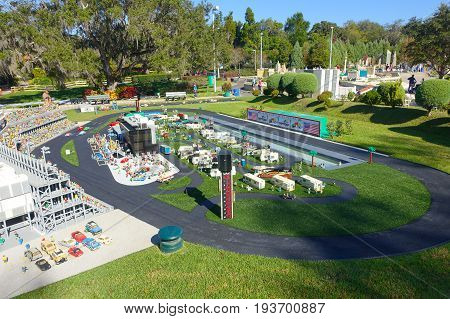 HOUSTON, USA - JANUARY 12, 2017: Miniature of a car race track in USA, is replete with inspiring reproductions, made with lego pieces.