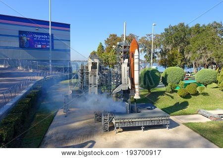 HOUSTON, USA - JANUARY 12, 2017: Miniature of a spacecraft with a nasa station representation in USA is replete with inspiring reproductions, made with lego pieces.