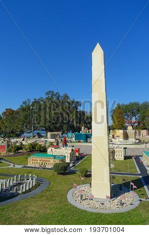HOUSTON, USA - JANUARY 12, 2017: Miniature of obelisk in USA is replete with inspiring reproductions, made with lego pieces.