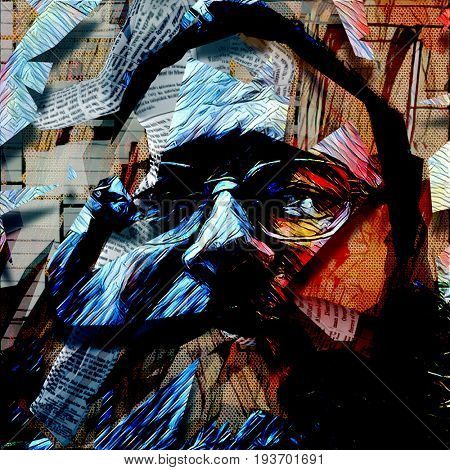 Abstract painting. Old man's face in glasses.   3D rendering