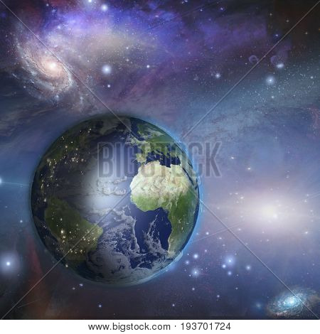 Earth day night in space  Elements in this image were furnished by NASA   3D rendering