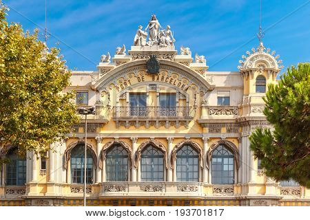 Old Customs building in Port Vell at sunny noon, Barcelona, Spain.