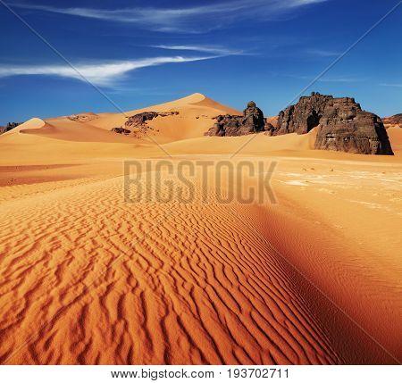 Sand dunes and rocks, Sahara Desert, Algeria