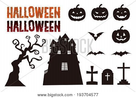 Halloween elements jack o lantern bat grave haunted mansion tree and lettering