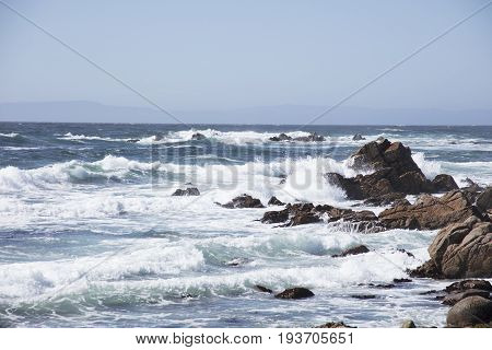 Waves Crashing on Rocks  along 17 mile drive Pebble Beach California