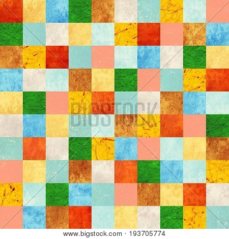 Seamless background with paper patterns of different colors - yellow, brown, blue, green, red and beige. Endless texture can be used for wallpaper, pattern fills, web page background, surface textures