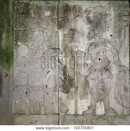 Bas-relief carving with of a Mayan king Pakal, pre-Columbian Maya civilization, Palenque, Chiapas, Mexico, North America. UNESCO world heritage site