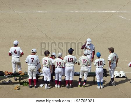 2017 May 4. TOKYO JAPAN. a japanese young player baseball team training on the baseball game at the public park, Tokyo JAPAN