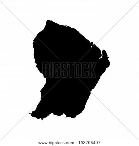 French Guiana Black Silhouette Map Outline Isolated On White 3D Illustration