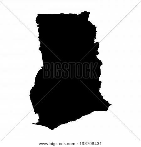 Ghana Black Silhouette Map Outline Isolated On White 3D Illustration