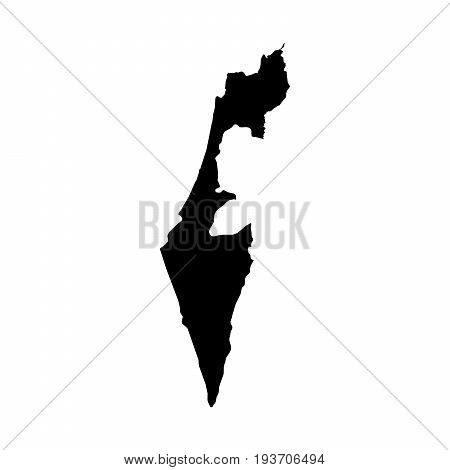 Israel Black Silhouette Map Outline Isolated On White 3D Illustration