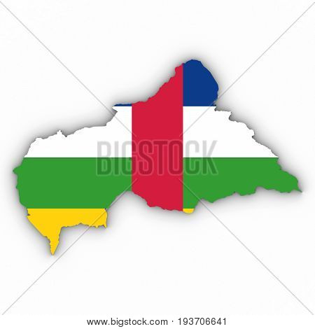 Central African Republic Map Outline With Central African Flag On White With Shadows 3D Illustration