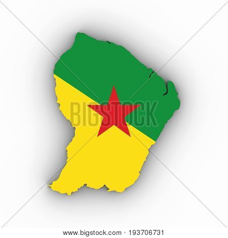 French Guiana Map Outline With French Guianese Flag On White With Shadows 3D Illustration