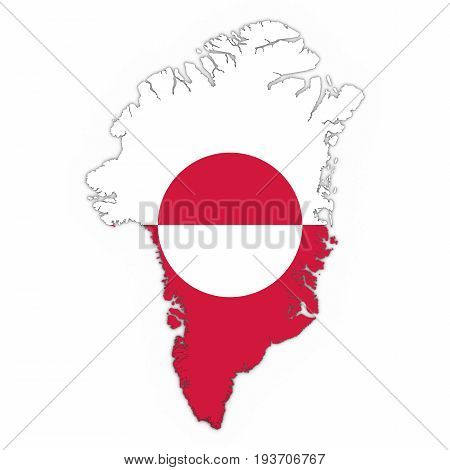 Greenland Map Outline With Greenlandic Flag On White With Shadows 3D Illustration