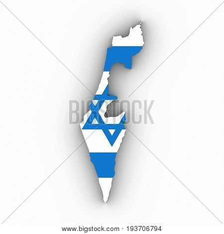Israel Map Outline With Israeli Flag On White With Shadows 3D Illustration