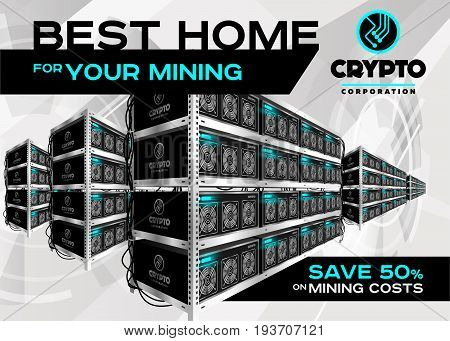 Detailed Vector Illustration of Bitcoin Mining Farm in Perspective. Racks of Mining Machines at Server Farm. Banner for Cryptocurrency Market Blog Article Advertising. Bitcoin Ethereum Litecoin.