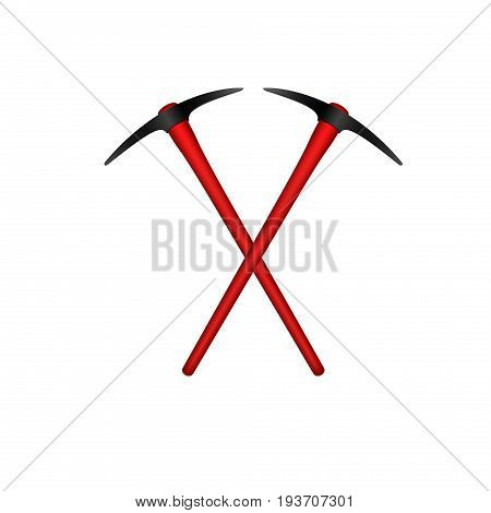 Two crossed mattocks in black design with red handle on white background