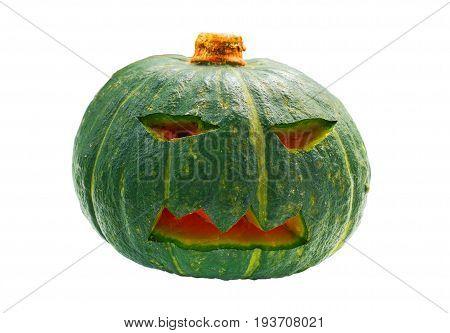 Halloween pumpkin head lantern isolated on white