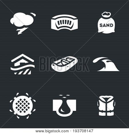 Rain, dam, sandbag, building, boat, tsunami, sewage, dam break, life jacket.