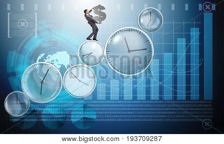 Time is money concept with businessman holding dollar