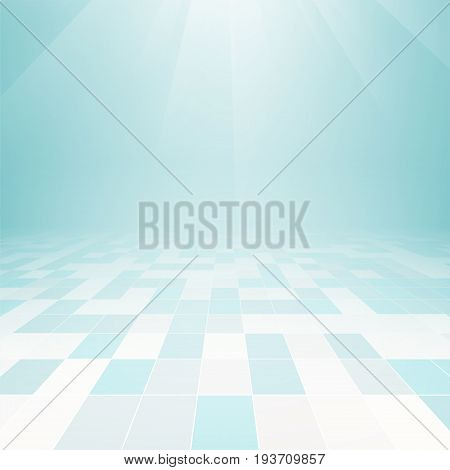 Vector design of floor tile background with grid line and light in perspective view for background.