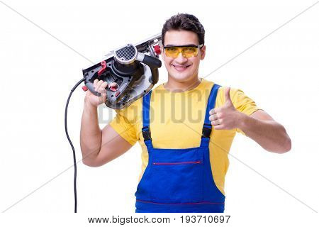 Carpenter wearing coveralls with circular saw isolated on white
