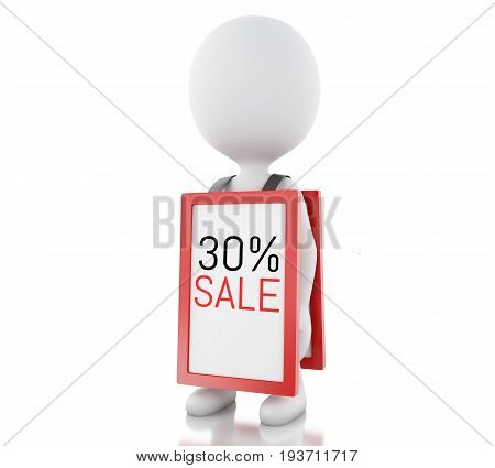 3D White People With Megaphone Promotioning 30% Discount