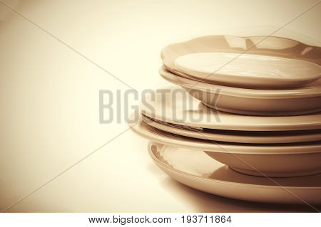 close up set empty white dinning dish on white background and text space