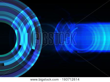 frequency wave with line technology abstract background, digital circle overlap  template, vector illustration