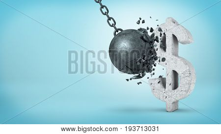 3d rendering of a large wrecking ball hitting a concrete USD sign and unable to break it on blue background. Foreign exchange. Stable investment. Financial advice.