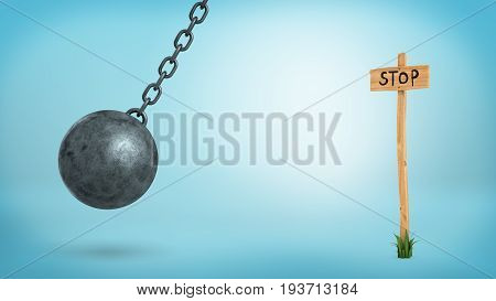 3d rendering of a wrecking ball swinging beside a wooden information post with a 'Stop' sign. Destroy restrictions. Rule breaking. New prospects.