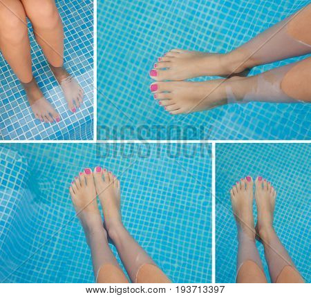 Four images of feet in the pool