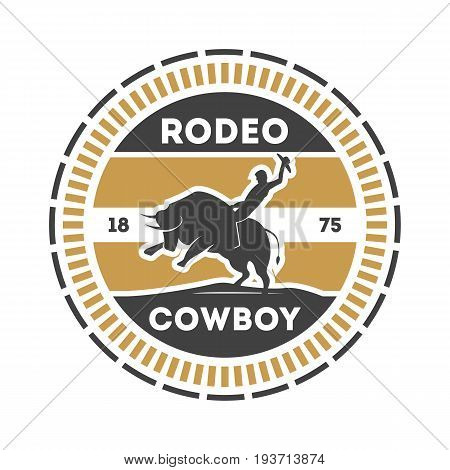 American rodeo vintage isolated label with cowboy on bull. Authentic cowboy show symbol vector illustration.
