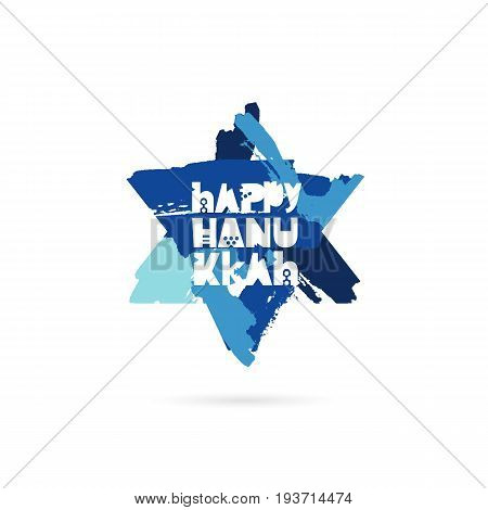 Happy Hanukkah. Vector illustration on white background. Blue star of David from brush strokes. Lettering. Great holiday gift card.