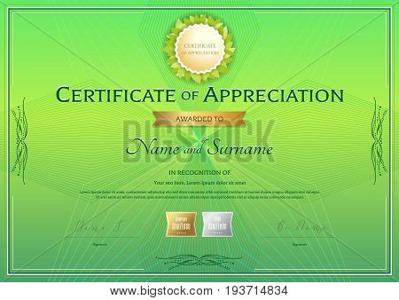 Certificate of appreciation template in green environment theme on abstract guilloche background with vintage border style