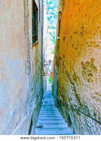 Narrow italian street in Positano at Italy