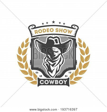 American rodeo show vintage isolated label. Authentic cowboy show symbol vector illustration.