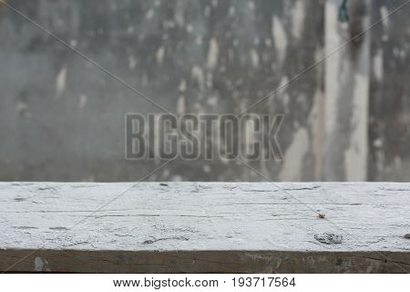 Empty Wood Table With Cement Mortar Wall Background