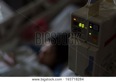 Infusion Iv Solution Automatic Machine In Patient Room