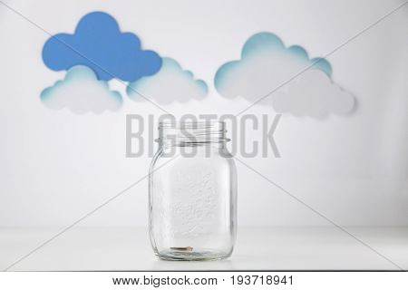 saving jar with the cloud as background