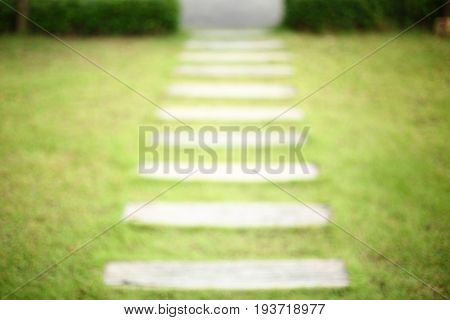 Pathway Pavement Step On Green Grass Front Yard Garden