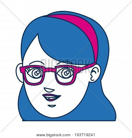 girl avatar face blue hair and glasses vector illustration