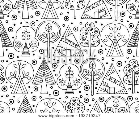 Vector Hand Drawn Seamless Pattern, Decorative Stylized Black And White Childish Trees. Doodle Sketc