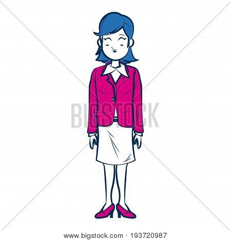 business woman person in blue and fuchsia character vector illustration