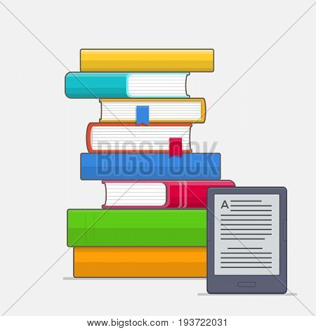 Stack of colorful books with bookmark and E-book reader. Education concept. Vector illustration