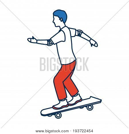 man skating on skateboard icon sport vector illustration