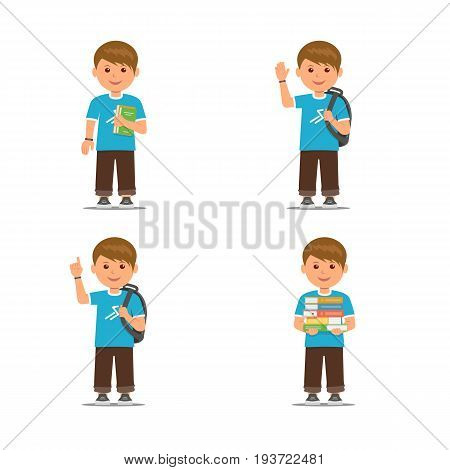 Pupils with different pose isolated on white background. Cartoon school boys . Vector illustration in flat style.