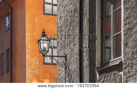 Old House Facade With Street Lamp. Stockholm