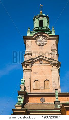 Storkyrkan, Close-up Photo Of Its Tower. Stockholm