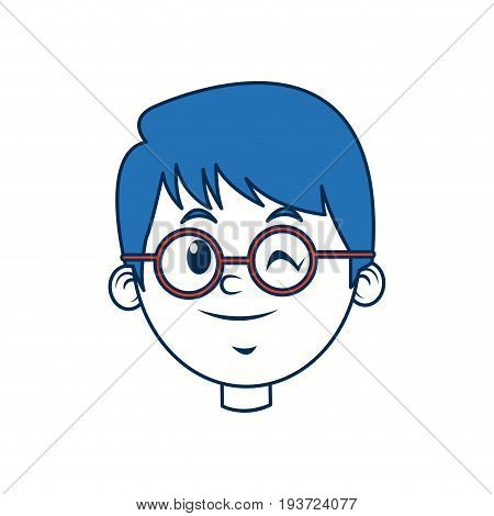 cute boy face wear glasses wink with blue hair vector illustration